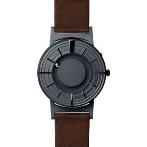 Eone Bradley Edge Braille Graphite Dial Italian Leather Strap Watch BR-EDGE-GT