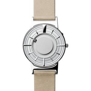 Eone Bradley Edge Braille Silver Dial Sand Italian Leather Strap Watch BR-EDGE-SV