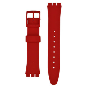 Swatch Eight For Luck 17mm Red Silicone Watch Strap AGR166