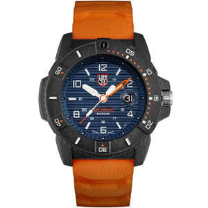 Luminox Men's Navy Seal Sapphire Carbon Case Blue Dial Orange Rubber Strap Watch XS.3603