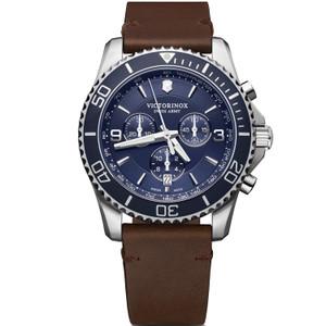 Victorinox Swiss Army Maverick Chronograph Sapphire Blue Dial Brown Leather Strap Watch 241865