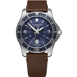 Victorinox Swiss Army Maverick Sapphire Blue Dial Brown Leather Strap Watch 241863
