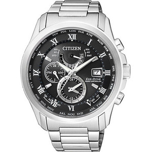 Citizen Men's Eco-Drive World Time Radio Controlled Black Dial Silver Bracelet Watch AT9081-89E