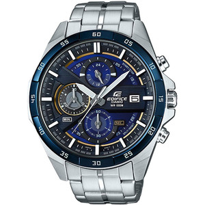 Casio Edifice Chronograph Blue and Yellow Dial Silver Bracelet Watch EFR-556DB-2AVUEF