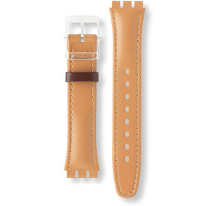 Swatch Watch Strap Leather Light-Brown Croissant Chaud AGE700 17mm With Free Battery