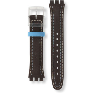 Swatch Watch Strap Leather Brown With Stitching Blue Choco AGM415 17mm With Free Battery