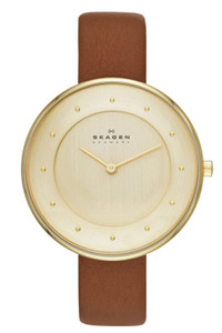 Skagen Ladies' Brown Leather Strap Slim Watch SKW2138