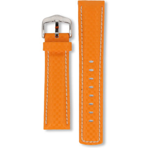 Hirsch Carbon Replacement Watch Strap Orange Genuine High-Tech Leather 22mm