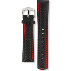 Hirsch Carbon Replacement Watch Strap Black And Red 20mm