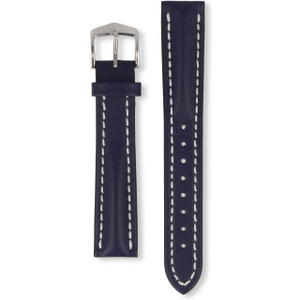 Hirsch Heavy Calf Replacement Watch Strap Blue Genuine Untextured Leather 18mm With