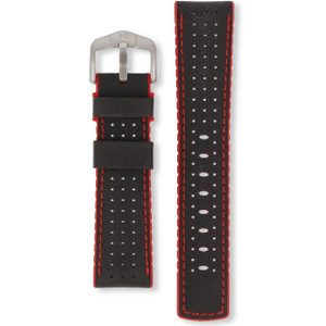 Hirsch Robby Replacement Watch Strap Black And Red Genuine High-Tech Leather 22mm