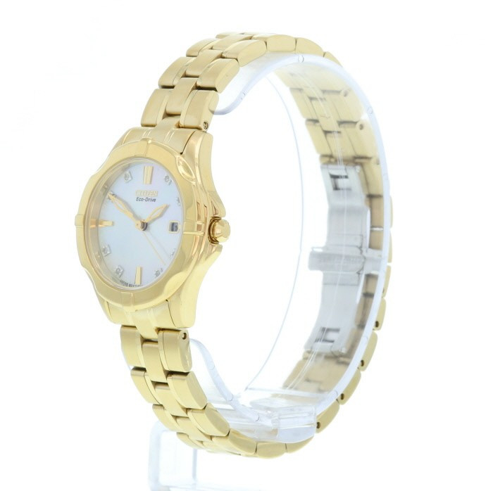 Citizen Ladies Eco Drive Gold Diamond Mother Of Pearl Watch EW1932-54D. ◅  ZOOM  c2308212e