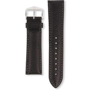 Hirsch Forest Replacement Watch Strap Black Genuine Textured Leather 22mm