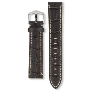 Hirsch Knight Replacement Watch Strap Grey Genuine Exotic Embossed Leather 20mm