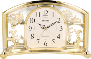 Rhythm Alarm Mantel Clock with Rotating Swarovski Crystal Pendulum 4SE535WR18