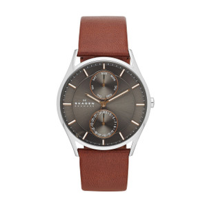 Skagen Holst Men's Multifunction Brown Leather Watch SKW6086