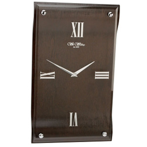 Wm.Widdop Curved Dark Wood Wall Clock with Panel Front W7479