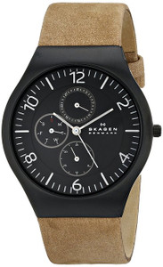Skagen Brown Leather Watch Men's Grenen Multi Function Dial SKW6114