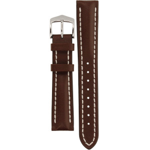 Hirsch Heavy Calf Replacement Watch Strap Brown Genuine Untextured Leather 18mm