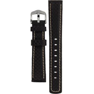 Hirsch Carbon Replacement Watch Strap Navy High-Tech Leather 18mm