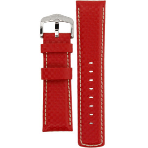 Hirsch Carbon Replacement Watch Strap Red High-Tech Leather 24mm