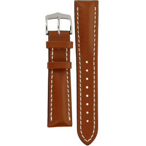 Hirsch Heavy Calf Replacement Watch Strap Golden Brown Genuine Untextured Leather 20mm