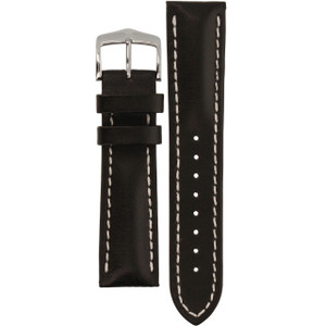 Hirsch Heavy Calf Replacement Watch Strap Black Genuine Untextured Leather 22mm