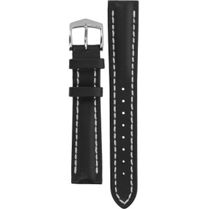 Hirsch Heavy Calf Replacement Watch Strap Black Genuine Untextured Leather 18mm