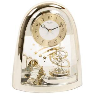 Rhythm Mantel Clock Gilt Spiral Rotating Pendulum