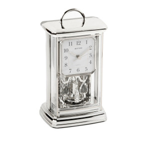 Rhythm Silver Arabic Dial Pendulum Anniversary Mantel Clock