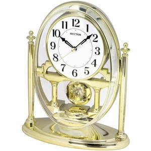 RHYTHM Mantel Clock with Crystal Effect Pendulum in Gold CRP609WR18