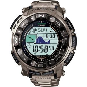 Casio Pro Trek Men's Radio Controlled Solar Digital Titanium Strap Watch PRW-2500T-7ER