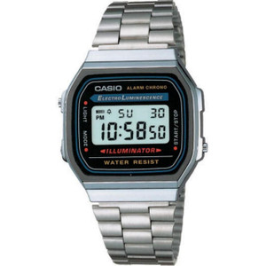 Casio Men's Classic Black Digital Display Silver Alarm Chronograph Watch A168WA-1YES