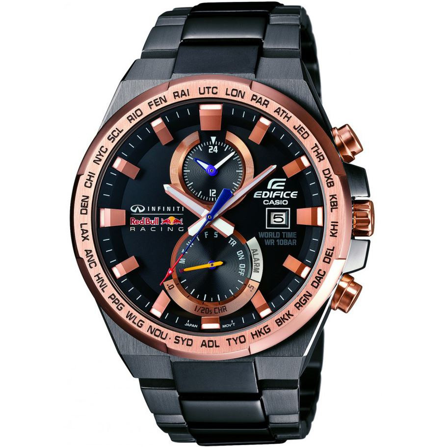 cc5dc576c579 Edifice Red Bull Racing Black And Rose Gold Dial Grey Bracelet ...