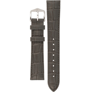 Hirsch Louisianalook Replacement Watch Strap Grey Alligator Embossed Leather 18mm