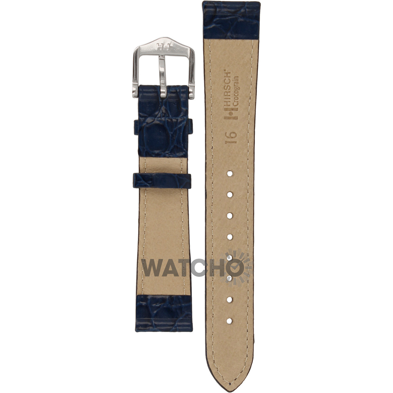 89a69a141 Hirsch Crocograin Replacement Watch Strap Blue Crocodile Embossed Leather  16mm With Free Connecting Pins. ◅ ZOOM | MORE PHOTOS ▻
