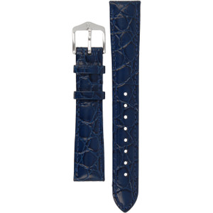 Hirsch Crocograin Replacement Watch Strap Blue Crocodile Embossed Leather 16mm