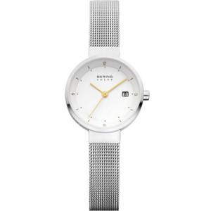 Bering Ladies Solar Powered White Dial Mesh Bracelet 26mm Watch 14426-001
