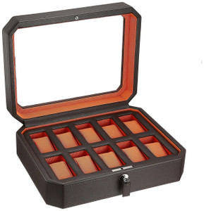 Wolf Viceroy Dark Brown And Orange Watch Storage Box For 10 Watches