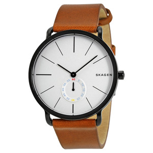 Skagen Mans Hagen White Dial Watch With Brown Leather Strap SKW6216