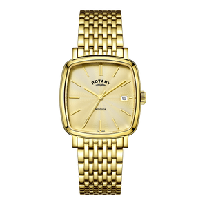 Rotary Mens Windsor Gold Dial Watch With Date Display GB05308/03
