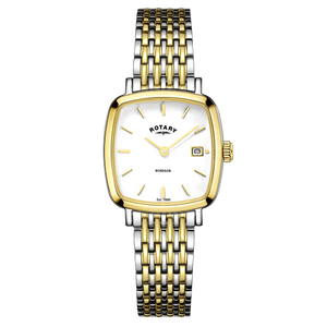 Rotary Ladies Windsor White Square Dial Bracelet Watch LB05306/01