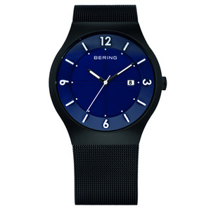 Bering Mens Solar Powered Blue Dial Black Mesh Strap Watch 14440-227