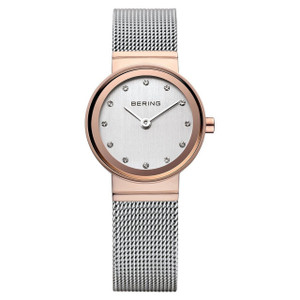 Bering Ladies Classic Rose Gold Watch With Crystal Dial 10126-066