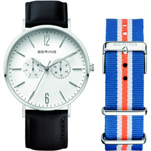 Bering Classic Mens Black Leather Silver Watch 14240-404 With NATO Strap
