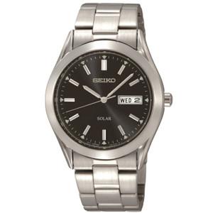Seiko Solar Classic Day Date Black Dial Bracelet Watch SNE039P1