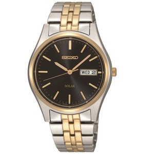 Seiko Solar Powered Black Dial Gold Silver Classic SNE034P1
