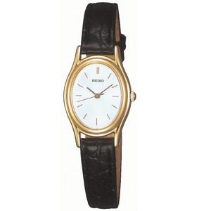 Seiko Ladies Oval Dial Leather Strap Gold Tone Watch SXGA82