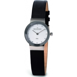 Skagen Ladies' Black Leather Strap Watch 358XSSLBC