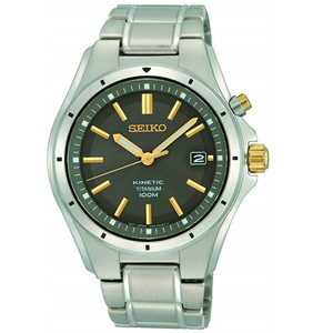Seiko Men's Kinetic Titanium Classic Black And Gold Date Watch SKA765P1